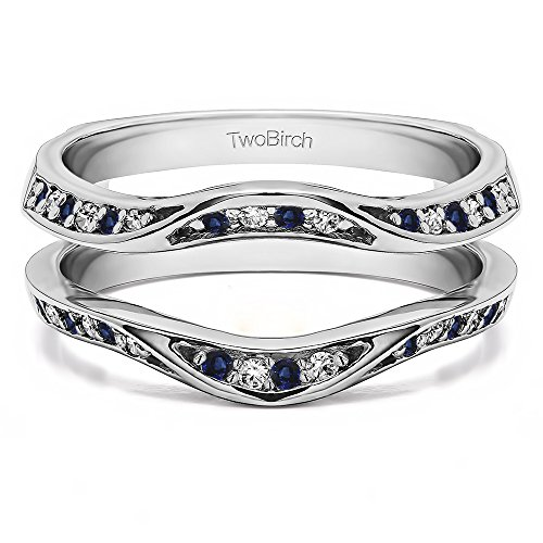 Fancy Classic Style Contour Ring Guard Enhancer Wedding Band with 0.44 cts of Diamonds and Sapphire in Silver by TwoBirch