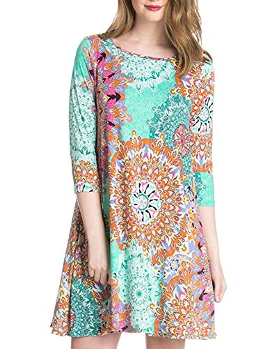 Women's 3/4 Sleeve Damask Floral Printed Tunic Dress Bohemian Swing Casual Midi Dress with Pocket Tunic Blouses for Leggings (Medium, Light Blue)