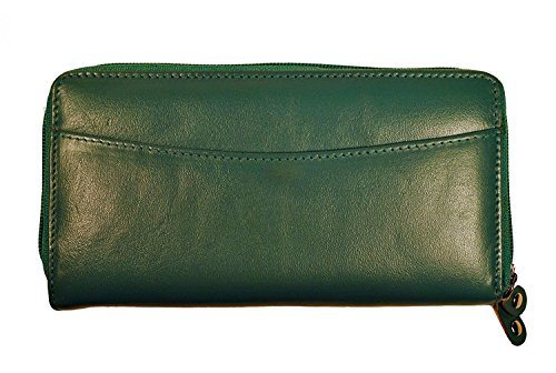 Budd Leather Calf Double Zip Around Credit Card Wallet With RFID - ()
