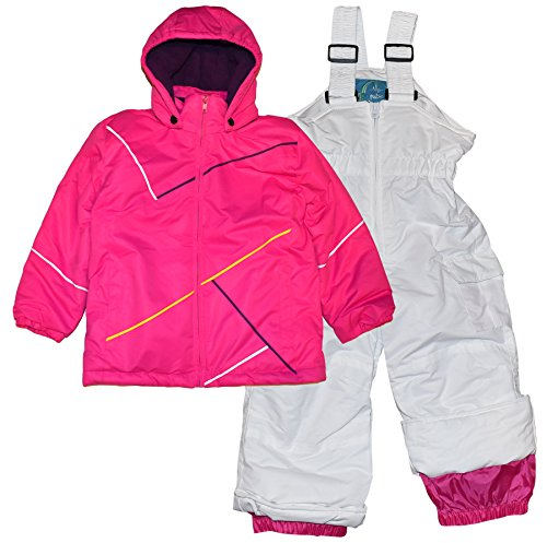 2 Piece Snowsuit Set (Pulse Little Girls' 2 Piece Snowsuit Set Insulated Cut copy (Large (7), Pink White))