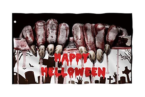 Pickle Rick Halloween Brass Grommets,Quadruple Stitched Fly End Decor Flags 3x5 Feet Witch Fingers Outdoor Porch Prime Emblemize 3 X 5 Ft -