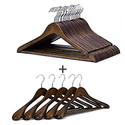 J.S. Hanger Wooden Suit Hangers Non-Slip Retro Finish Hangers, 25 Pack
