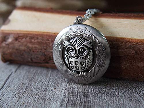 FidgetFidget Cameo Owl Oxidized Silver Round Photo Picture Locket Charm Pendant Necklace