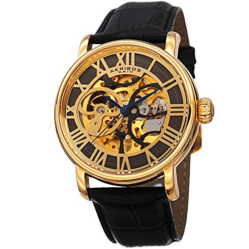 See Thru Skeleton - Akribos XXIV Men's AK540YGB Automatic Self-Wind Movement Watch with Black and See Thru Skeleton Center Dial With Black Genuine Leather Strap