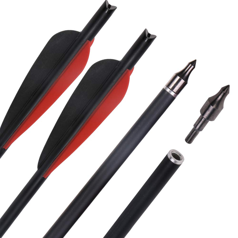 IRQ Crossbow Arrows Archery Carbon 20inch 4 inch Vanes Crossbow Bolts for Youth Adults 125grain Screw-in Replacement Field Tips Shield Fletchings(Pack of 12)