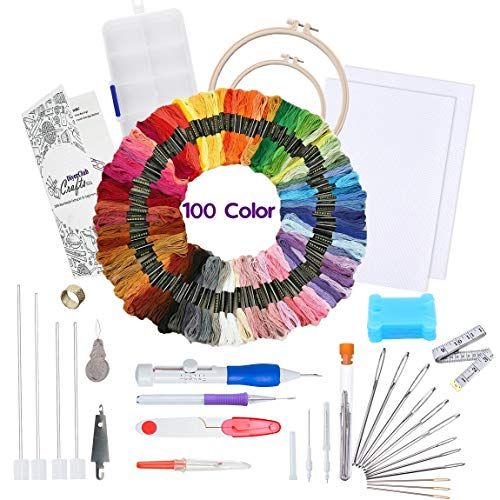 Punch Needle Embroidery Kit for Beginners-Cross Stitch Kits for Starter Adults-Needlepoint Supplies-Magic Pen Full Set with 100 Color Thread,2 Hoops, 2pcs Aida Cloth & Instructions-DIYerClub Crafts