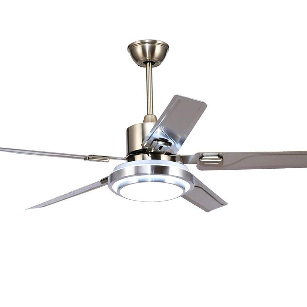 5 Blades Ceiling Fans with Lights Remote Control Stainless Steel Reversible LED Silent Energy Saving Fan Ceiling Chandelier Lighting (42 inch) Lawrences