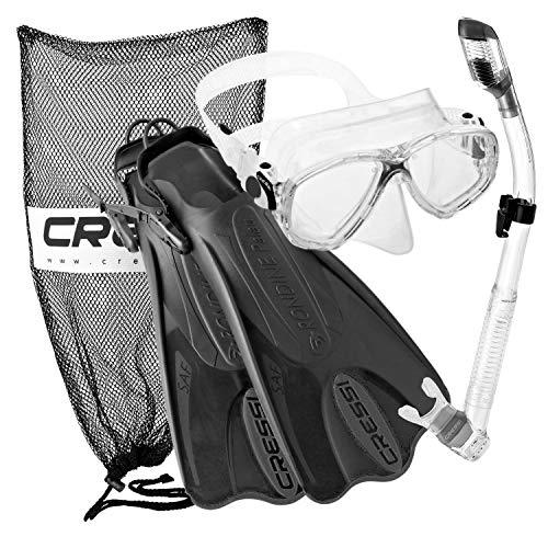 Cressi Palau Mask Fin Snorkel Set with Snorkeling Gear Bag, TT-LXL