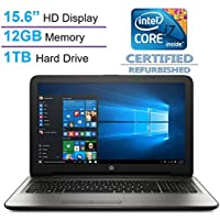 HP 15.6 HD SVA BrightView WLED-backlit Display Laptop PC, Intel Core i7-6500U 2.5GHz Processor, 12GB Memory, 1TB HDD, Webcam, HDMI, Bluetooth, DVD +/- RW, Windows 10 (Certified Refurbished)