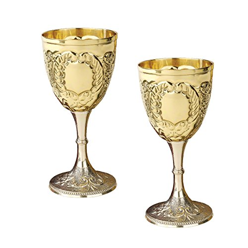 Design Toscano The King's Royal Chalice Cup, 6 Inch, Set of Two, Embossed Brass, - Toscana Gold Finish