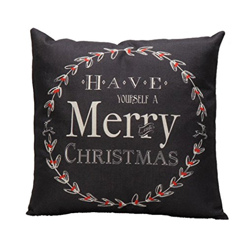 Emubody Vintage Christmas Letter Sofa Bed Pillow Case Cushion Cover (Black)