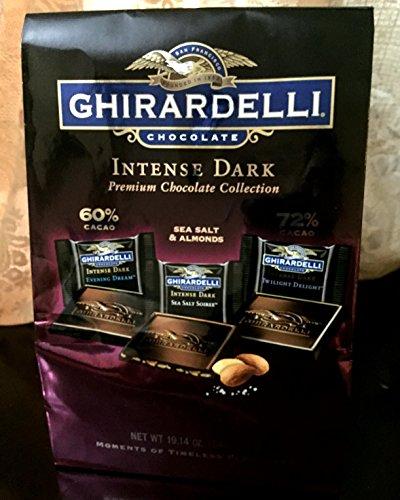 Ghirardelli Intense Dark Net Wt 19.14 Oz, Dark Chocolate 60% Cacao, Dark Chocolate 72% Cacao, Dark Chocolate Sea Salt Soiree with Almonds
