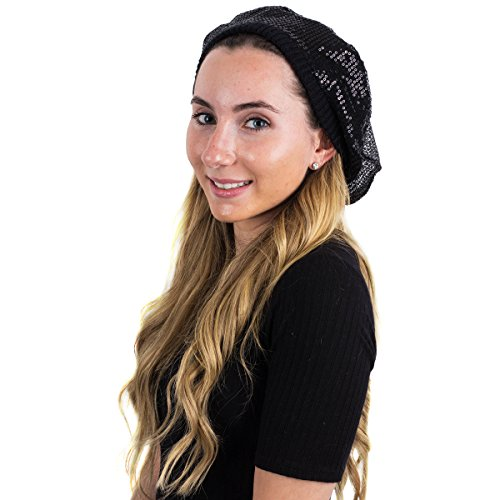Berets for Women - Beret Hat - Black Sequin Beret - Beret Beanie - French Beret Hat by (Sequin Beret)