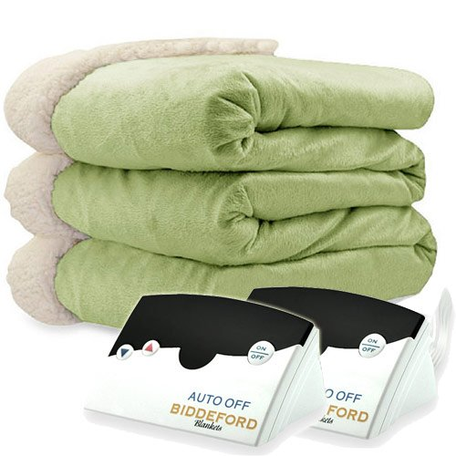 Pure Warmth by Biddeford Micro Mink and Sherpa Heated Blanket Queen Sage
