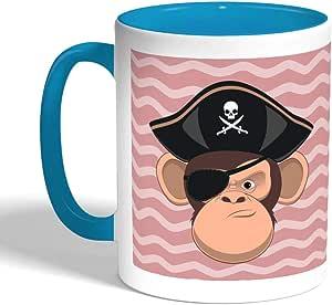 كوب سيراميك للقهوة بتصميم قرد قرصان، لون تركواز