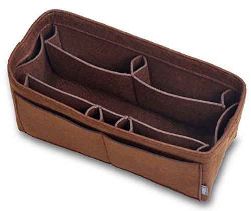 Pelikus Felt Purse and Tote Organizer Insert/Sturdy Structured Handbag Shaper(Large-Slender, Chocolate)