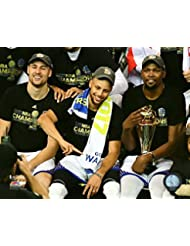 Golden State Warriors Klay Thompson, Stephen Curry & Kevin Durant After The 2017 NBA Finals. 8x10 Photo Picture