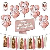 LIVEHITOP 48 Pcs Party Supplies Birthday Decorations Girl Birthday Balloon Rose Gold, Gold Confetti Balloons Ribbon Tassel for Women Birthday Party