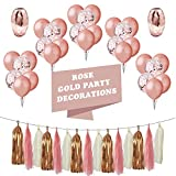 LIVEHITOP Rose Gold Party Decorations Set of 48 with 30PC 12 Inch Balloons 15PC Tassel and 3PC Ribbon for Bridal Shower Decorations Birthday Graduation Decorations Party Supplies for Adults Kids
