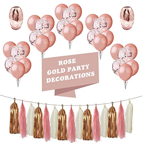 LIVEHITOP 48 pc Rose Gold Party Decorations - Birthday Party Supplies Party Decorations Balloons Rose Gold Happy Birthday Tassel Ribbon Confetti Balloons (Rose Gold)