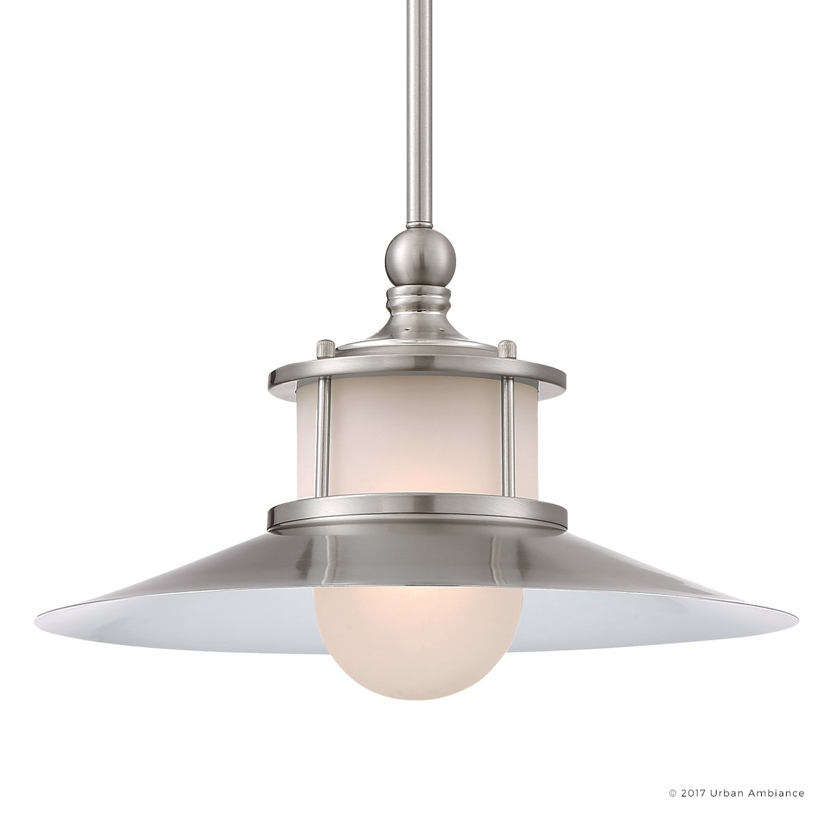 Luxury Nautical Indoor Hanging Pendant Light, Medium Size: 9''H x 14''W, with Coastal Style Elements, Hooded Design, Pretty Brushed Nickel Finish and Acid Etched Glass, UQL2532 by Urban Ambiance