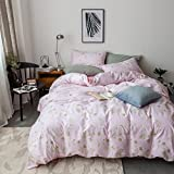 Duvet Cover Set Twin Size 3 Piece (1pc Duvet Cover + 1pc Flat Sheet + 1pc Pillowsham) by WarmGo, 100% Cotton Bedding Set Pink Background with Green Floral Flower Pattern - Not Include Comforter
