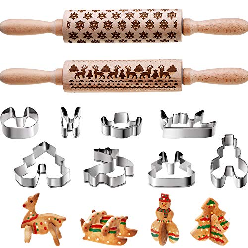 Boao 10 Pieces Christmas Wooden Rolling Pins Engraved Embossing Rolling Pin with Christmas Symbols Rolling Pin Kitchen Tool 3D Christmas Cookie Molds Cutters for Baking Embossed Cookies