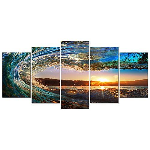 Wieco Art Gorgeous Waves Giclee Canvas Prints Wall Art Ocean Beach Pictures Paintings for Living Room Home Decorations 5 Piece Modern Stretched and Framed Decorative Seascape Sea Artwork Wall (Decorative Art Framed Art)