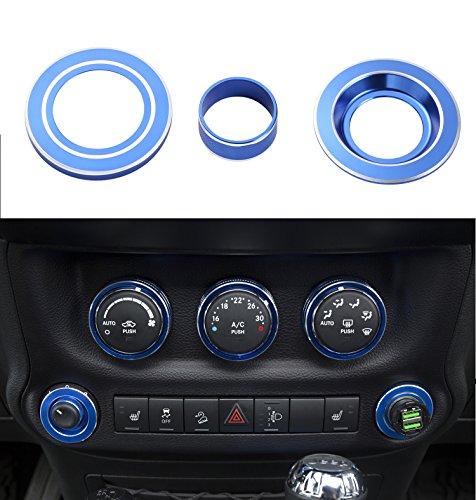 Side Mirror Trim - Hooke Road Blue Side Mirror & Cigarette Lighter Cover Trim for 2011-2015 Jeep JK Wrangler & Unlimited