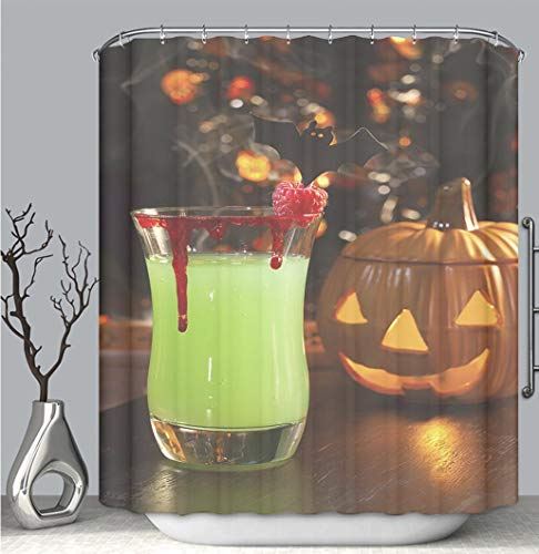 BEICICI Color Shower Curtain Liner Anti-Mildew Antibacterial, Picture of Halloween Drinks Vampires kiss Cocktail Multi-Color,Custom Shower Curtain Bathtub Bathroom Accessories.