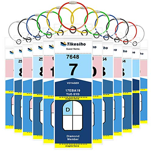 (Cruise Luggage Tags, Cruise Essentials Holders for Norwegian Royal Caribbean, Thick PVC Zip Seal 12 Pack)