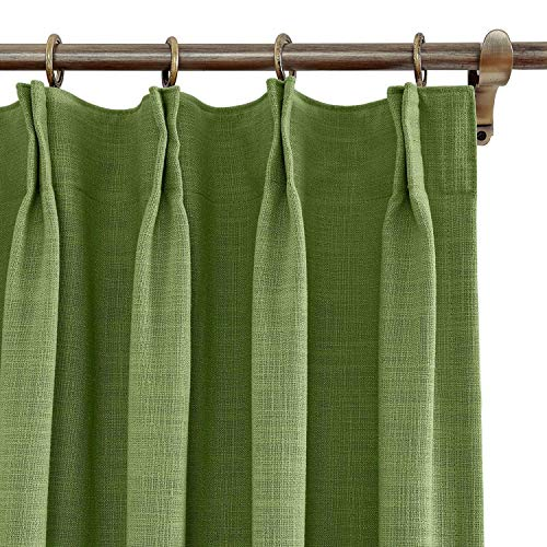 (Cottontree Homesoft FirstHomer Polyester Linen Curtain Thermal Blackout Lining Pinch Pleat Drape for Sliding Door Patio Door Bedroom,100W84L,1 Panel,Green)