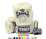 Top King Muay Thai Boxing Gloves TKBGSS Super Snake - White Gold 14 oz