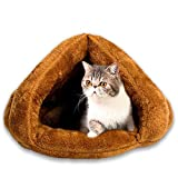 Cat Bed Pets Bed Triangle Burrow Soft Fleece Cat Sleeping Bed Cave for Cat Puppy Rabbit Small Animals (Camel) Review