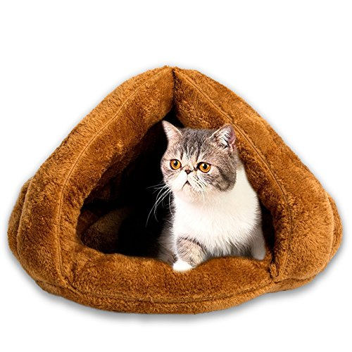 Cat Bed Pets Bed Triangle Burrow Soft Fleece Cat Sleeping Bed Cave for Cat Puppy Rabbit Small Animals (Camel)