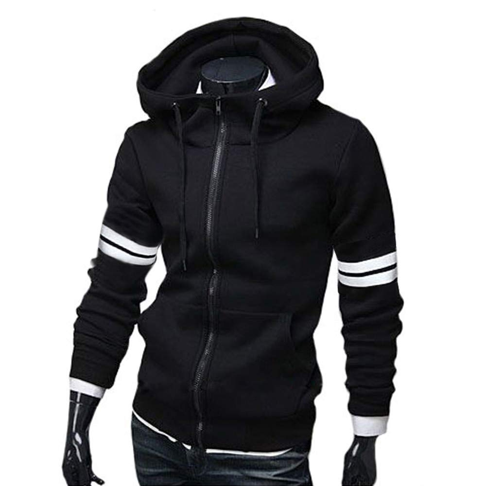 Amazon.com: Kemilove Mens Striped Hooded Solid Color Long Sleeve Shirt: Clothing
