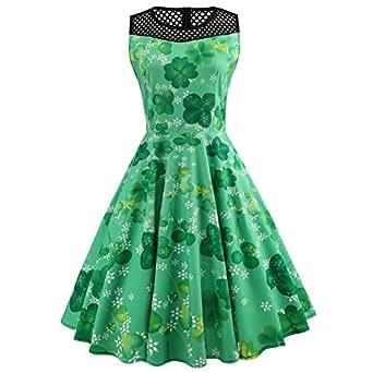 iBaste Sin Mangas Vintage Vestidos Fiesta Mujer Día de San Patricio Trébol Estampa Verde Dress Rockabilly Clásico Vestido con Vuelo