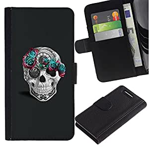 Be-Star la tarjeta de Crédito Slots PU Funda de cuero Monedero caso cubierta de piel Sony Xperia Z3 Compact ( Flowers Pink Teal Grey White Time )