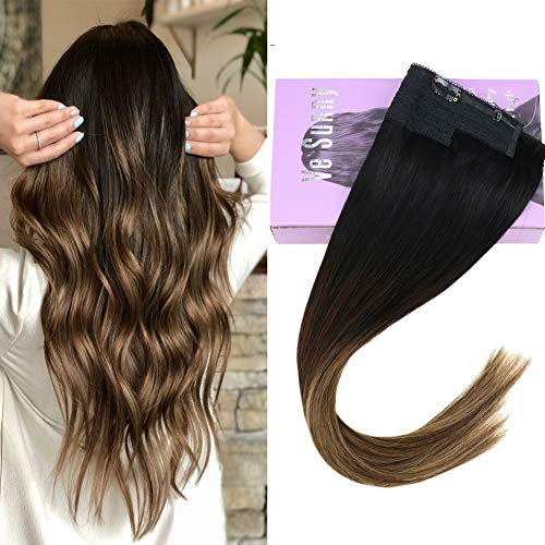 VeSunny 16inch Halo Invisible Hair Extensions Human Hair Balayage Color #1B Natural Black Ombre #4 Dark Brown Mix #27 Caramel Blonde Secret Halo Extensions 11inch Width 80G/Set