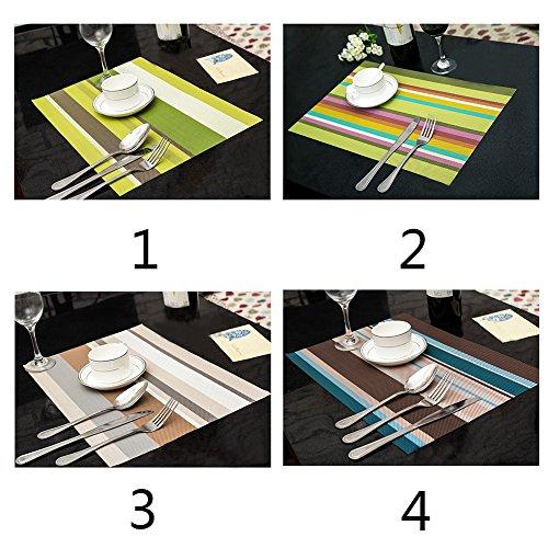 Manteles Doilies Cup Mats Coaster Pad 4PCS/Lot Heat Resistant PVC Kitchen Dinning stripe Table Placemats for Table Mat 4530cm -Pier 27