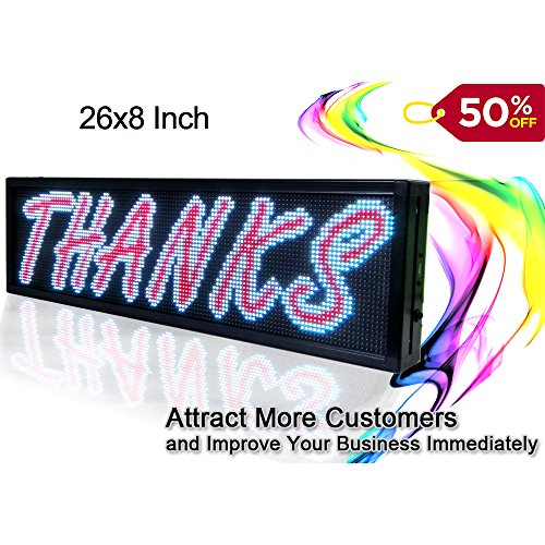 """26""""x8"""" Programmable LED Scrolling Message Sign Indoor P5 full color led advertising Display Board"""