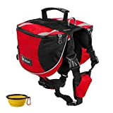 dog hiking pack - GrayCell Dog Saddlebags Hound Travel Hiking Camping Backpack for Medium Large Dogs (Red,L)