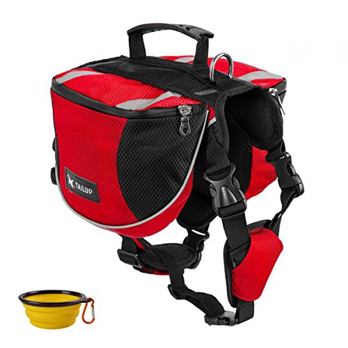 - GrayCell Dog Saddlebags Hound Travel Hiking Camping Backpack for Medium Large Dogs (Red,M)