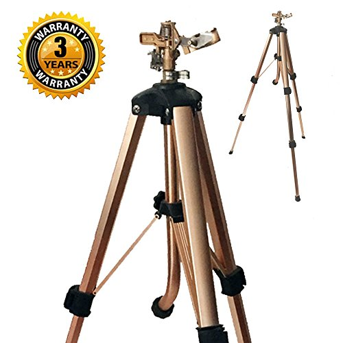 Garden Tripod - Brass Impact Tripod Sprinkler with Heavy Duty Brass Impact Sprinkler (25-48