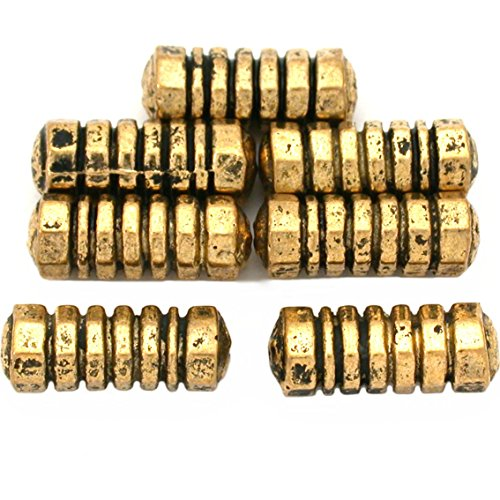 17g Bali Tube Beads Antq Gold Plated Bead 16mm Approx 6 ()