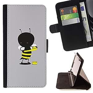 For Apple Apple iPhone 4 / iPhone 4S Case , Gris de la historieta amarilla linda- la tarjeta de Crédito Slots PU Funda de cuero Monedero caso cubierta de piel