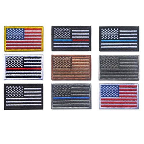USA American Flag Tactical Patches Bundle, Velcro Patch for Uniforms Jackets Hats Bags Embroidered Patch 9 (All American Saddlebag)