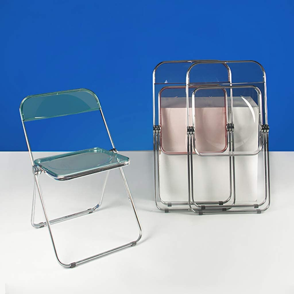 ZWJLIZI Folding chair, ins style acrylic crystal makeup chair, home dining chair (Color : B) E
