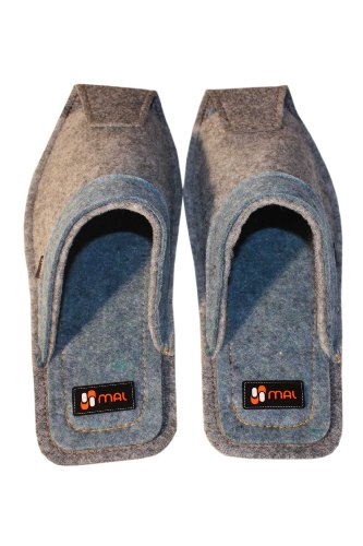 Home Slippers for Men, Wool, Gray and Blue Grey and Blue