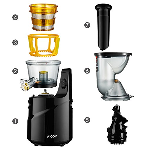 Aicok Slow Juicer 75mm : Aicok Juicer, Whole Slow Masticating Juicer, 75MM Wide Mouth Fruit and vegetable Juice Extractor ...